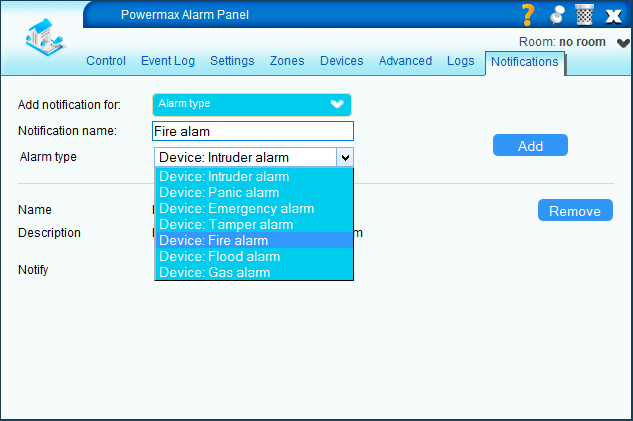 Panel notification: alarm type